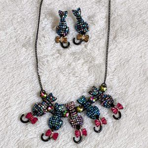 NWT Betsey Johnson Black Cats Necklace & Earrings